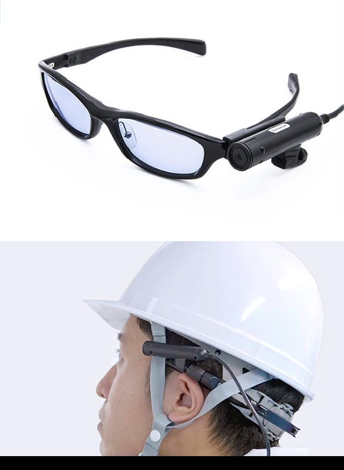 メガネにカメラを取り付けている画像