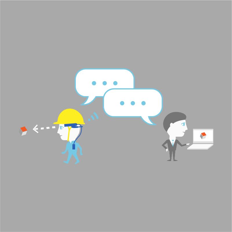 会話しながら作業者を遠隔支援できます。